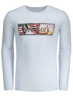 Camiseta De La Impresión De La Letra De Nueva York - Blanco L