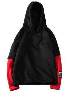 Two Tone Fleece Mens Hoodie - Black M