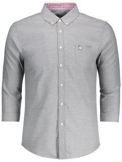 Button Down Three Quarter Sleeve Shirt - Gray 3xl