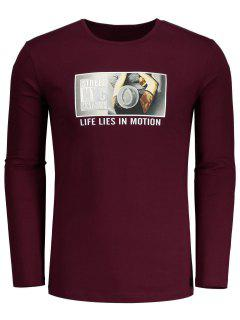 Round Neck Graphic T-shirt - Burgundy L