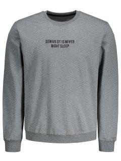 Letter Embroidered Pullover Sweatshirt - Gray 2xl