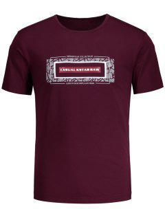 Kurzes Hülsen-Grafik-T-Shirt - Burgund 2xl
