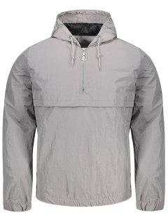 Hooded Half-zip Windbreaker Jacket - Gray Xl