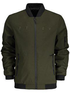 Stand Collar Side Pocket Bomber Jacket - Army Green Xl