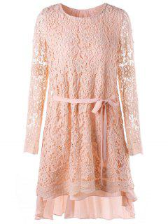 Long Sleeve High Low Mini Lace Pleated Dress - Pink M