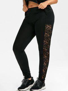 Plus Size Lace Side Leggings - Black 3xl