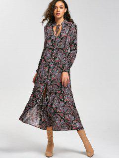 Paisley Print Long Sleeve Button Down Dress - 2xl