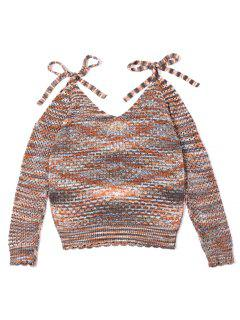 Hollow Out Bowknot Long Sleeve Scalloped Sweater - M