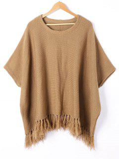 Tassel Trim Dolman Sleeve Sweater - Brown M
