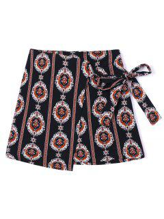 Tribal Print Asymmetric Wrap Skirt - L