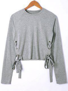 Crop T-Shirt Mit Raglan-Hülse Und Schnürsenkel - Grau Xl