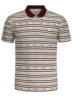 Striped Short Sleeve Polo T-shirt - Dark Red L
