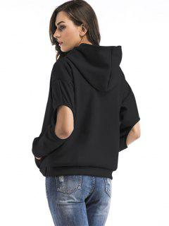 Open Elbow Kangaroo Pocket Hoodie - Black M