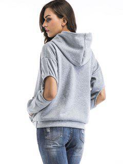 Open Elbow Kangaroo Pocket Hoodie - Gray Xl