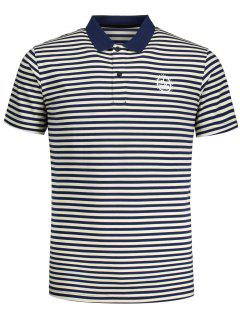 Short Sleeve Striped Polo T-shirt - Blue And White 2xl