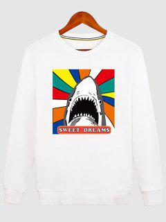 Letter Graphic Cartoon Sweatshirt - White M