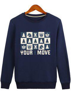 Horse Crown Graphic Crew Neck Sweatshirt - Blue M