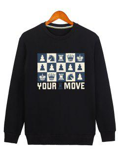 Horse Crown Graphic Crew Neck Sweatshirt - Black M