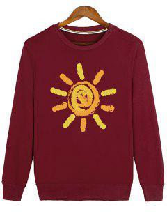 Sun Print Cartoon Crew Neck Sweatshirt - Red L