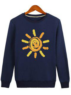 Sun Print Cartoon Crew Neck Sweatshirt - Blue L