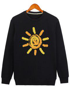 Sun Print Cartoon Crew Neck Sweatshirt - Black M
