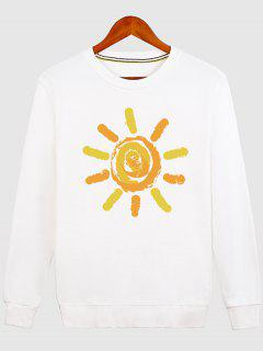 Sun Print Cartoon Crew Neck Sweatshirt - White L