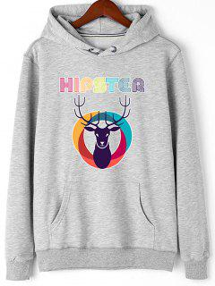Christmas Deer Hipster Graphic Hoodie - Gray 2xl