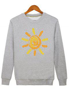 Sun Print Cartoon Crew Neck Sweatshirt - Gray L