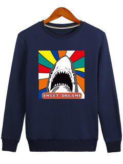 Letter Graphic Cartoon Sweatshirt - Blue 2xl