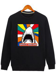 Letter Graphic Cartoon Sweatshirt - Black M