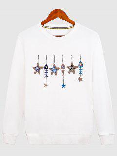 Stars And Fishbone Windbell Crewneck Sweatshirt - White M