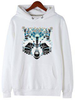 Kangaroo Pocket Animal Head Print Hoodie - White M