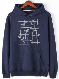 Pigeon Print Fleece Pullover Hoodie - Blue 2xl
