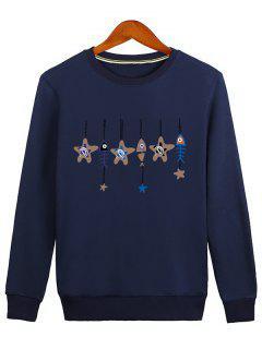 Stars And Fishbone Windbell Crewneck Sweatshirt - Blue M