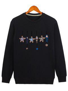 Stars And Fishbone Windbell Crewneck Sweatshirt - Black Xl