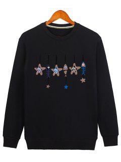 Stars And Fishbone Windbell Crewneck Sweatshirt - Black M