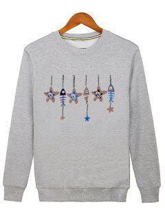 Stars And Fishbone Windbell Crewneck Sweatshirt - Gray M