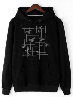 Pigeon Print Fleece Pullover Hoodie - Black M