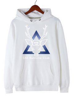Christmas Deer Pullover Graphic Hoodie - White M