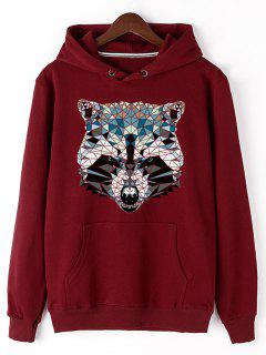 Kangaroo Pocket Animal Head Print Hoodie - Red L