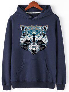 Kangaroo Pocket Animal Head Print Hoodie - Blue L