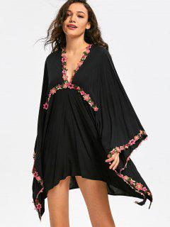 Asymmetric Floral Embroidered Dress - Black Xl