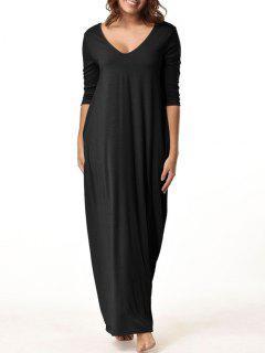V Neck Floor Length Baggy Dress - Black 2xl