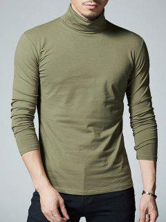 High Neck Stretch Long Sleeve Tee - Army Green L
