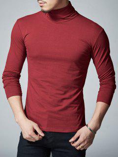 Camiseta Larga De La Manga Del Estiramiento Del Cuello - Vino Rojo L