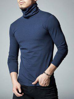 High Neck Stretch Long Sleeve Tee - Cadetblue Xl
