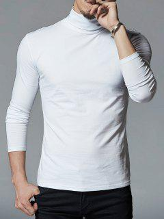 High Neck Stretch Long Sleeve Tee - White L