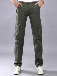 Zip Fly Flap Pockets Casual Cargo Pants - Army Green 32