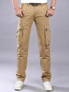 Zip Fly Flap Pockets Casual Cargo Pants - Khaki 36