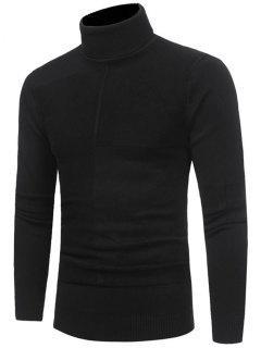 Panel Design Turtleneck Sweater - Black 2xl